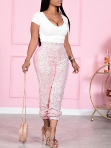 Pink Sequin High Waisted Sparkly NYE Party Long Pants