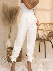 White Patchwork Pockets Lace-up Mid-rise Fashion Pants