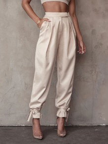 Khaki Patchwork Pockets Lace-up Mid-rise Fashion Pants