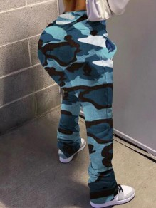 Blue Camouflage Pockets Pleated Ruched Casual Long Pants
