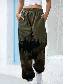 Green Patchwork High Waisted Streetwear Wide Leg Palazzo Pants