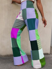 Green Plaid Print Flare Bell Bottom High Waisted Casual Long Pants