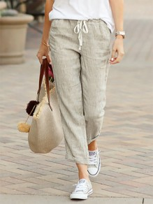 Grey Patchwork Drawstring Mid-rise Fashion Long Pants