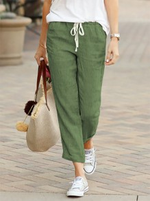 Green Patchwork Drawstring Mid-rise Fashion Long Pants