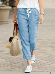 Blue Patchwork Drawstring Mid-rise Fashion Long Pants