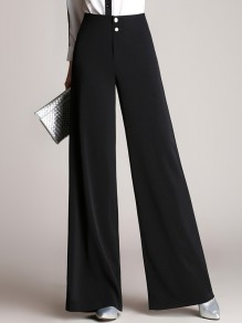 Black Patchwork Buttons High Waisted Going out Wide Leg Palazzo Pants