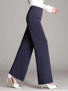 Blue Patchwork Buttons High Waisted Going out Wide Leg Palazzo Pants