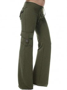 Green Patchwork Buttons Pockets Drawstring High Waisted Fashion Pants