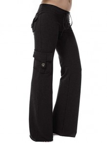Black Patchwork Buttons Pockets Drawstring High Waisted Fashion Pants