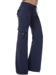 Dark Blue Patchwork Buttons Pockets Drawstring High Waisted Fashion Pants
