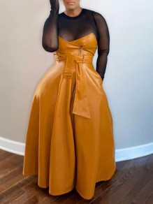 Orange Pockets Belt Pu Leather High Waisted Flare Long Skirt