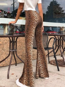 Brown Leopard Pattern Flare Bell Bottom High Waisted Long Pants