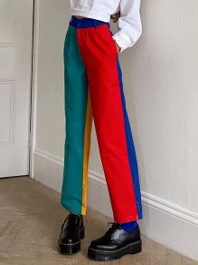 Green Patchwork Color Block Pockets Rainbow High Waisted Fashion Pants