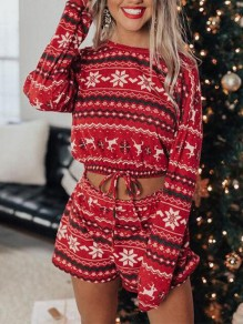 Red Cartoon Print Drawstring Two Piece Loungewear Pajama Lounge Set