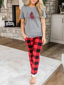 Grey Plaid Pockets Two Piece Christmas Casual Loungewear Pajama Lounge Set