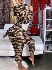 Army Green Camouflage Print Zipper Cosplay Onesie Long Romper Loungewear Pajama