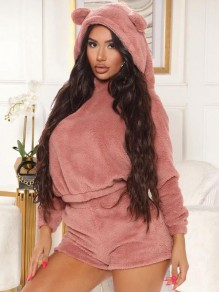 Pink Fuzzy Teddy Bear Ear Hooded Two Piece Cute Sleepwear Pajama Set