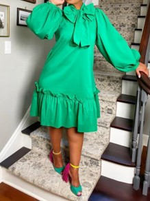 Green Patchwork Bow Cascading Ruffle Trendy Round Neck Sweet Maxi Dress