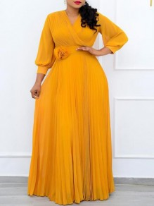 Yellow Patchwork Draped Appliques Trendy V-neck Sweet Maxi Dress