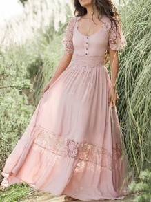 Pink Patchwork Lace Buttons Prom Evening Party Scoop Neck Elegant Maxi Dress