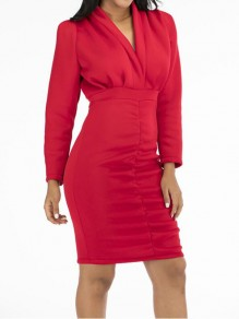 Red Patchwork Ruffle Trendy V-neck Party Mini Dress