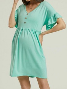 Green Patchwork Buttons Cascading Ruffle Comfy V-neck Going out Maternity Dress