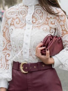White Patchwork Buttons Lace Trendy Band Collar Slim Blouse