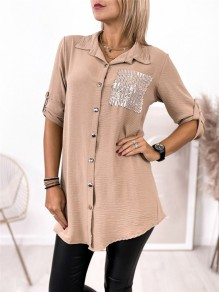 Khaki Patchwork Buttons Pockets Comfy Turndown Collar Going out Blouse