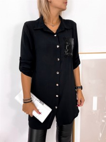 Black Patchwork Buttons Pockets Comfy Turndown Collar Going out Blouse