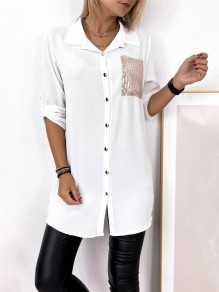 White Patchwork Buttons Pockets Comfy Turndown Collar Going out Blouse