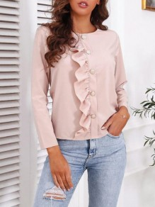 Pink Patchwork Buttons Ruffle Trendy Round Neck Sweet Blouse
