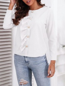 White Patchwork Buttons Ruffle Trendy Round Neck Sweet Blouse