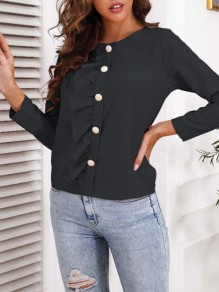 Black Patchwork Buttons Ruffle Trendy Round Neck Sweet Blouse