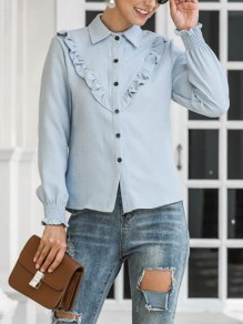 Blue Patchwork Buttons Ruffle Trendy Turndown Collar Fashion Blouse