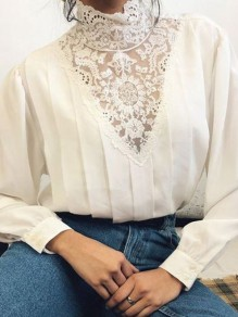 White Patchwork Buttons Lace Trendy High Neck Fashion Blouse
