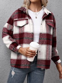 Red Plaid Single Breasted Pockets Trendy Turndown Collar Vintage Blouse