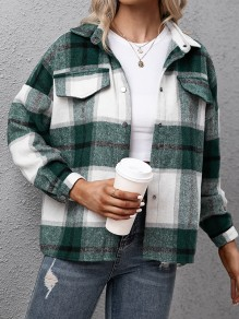 Green Plaid Single Breasted Pockets Trendy Turndown Collar Vintage Blouse