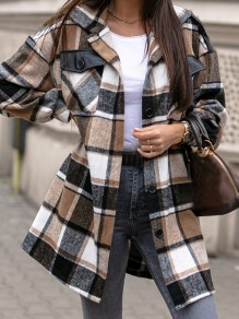 Khaki Plaid Pockets Buttons Trendy Turndown Collar Going out Blouse