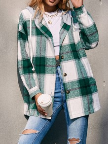 Green Plaid Buttons Drawstring Trendy Hooded Vintage Blouse