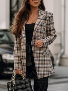 Apricot Plaid Buttons Pockets Trendy Turndown Collar Streetwear Outerwear
