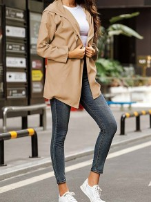 Khaki Patchwork Drawstring Pockets Comfy Hooded Outdoors Outerwear