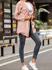 Pink Patchwork Drawstring Pockets Comfy Hooded Outdoors Outerwear