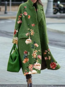 Green Floral Pockets Button Comfy Turndown Collar Loose Outerwear