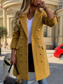 Yellow Patchwork Buttons Pockets Ttrendy Turndown Collar Straight Outerwear