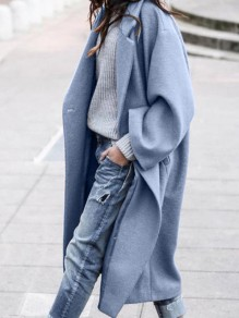 Blue Patchwork Pockets Buttons Trendy V-neck Loose Outerwear