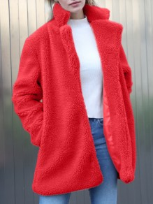 Red Patchwork Buttons Ruffle Comfy Turndown Collar Fashion Outerwear