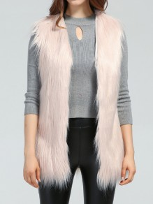 Pink Patchwork Ruffle Fluffy V-neck Fashion Outerwear