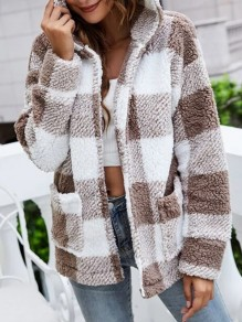 White Plaid Pockets Comfy Hooded Going out Outerwear