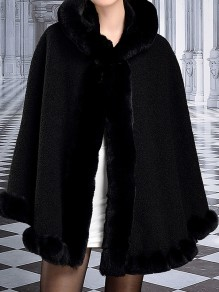 Black Patchwork Buttons Cape Hooded Classic Outerwear