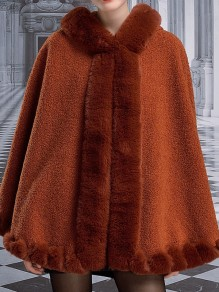 Brown Patchwork Buttons Cape Hooded Classic Outerwear